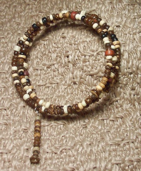 Small Wooden Bead Memory Wire Bracelet