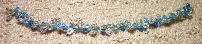 Silver and Blue Spiral Curly Wire Bracelet