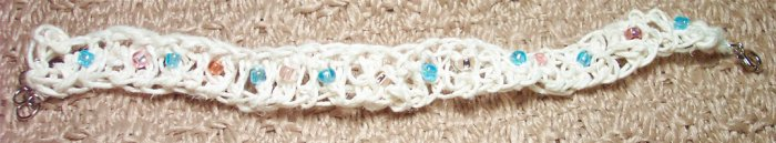 Ivory Hemp Woven Bracelet with Pink and Blue Beads