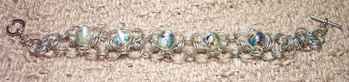 Silvertone Chainmaille with Multitone Glass Beads