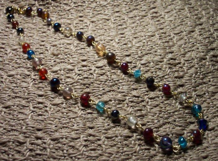 Jewel Tone Beaded Link Necklace