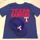 Lot of 2 MLB Size 8/10 Texas Rangers shirt cap hat set blue short sleeve