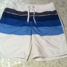 Old Navy board shorts swimwear Mens Large White  blue and gray stripes