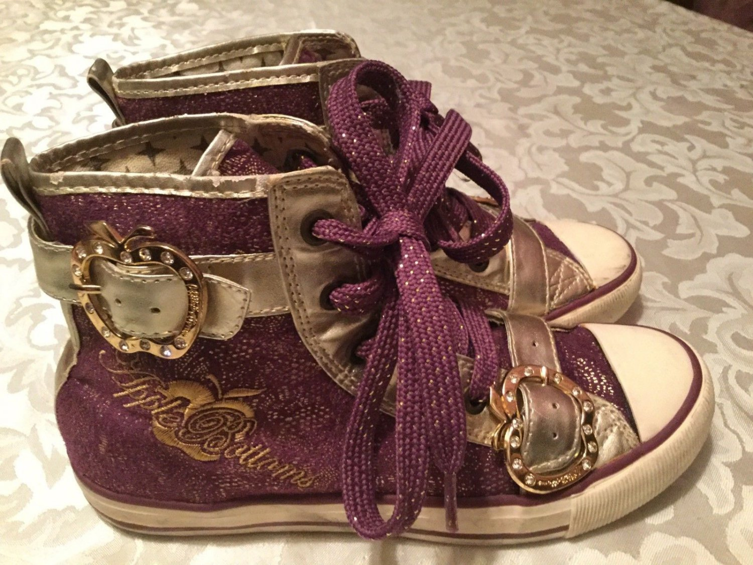 Girls Size 6.5 Apple Bottoms shoes   Kishia purple&gold shoes hi-top