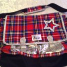 Justice backpack New tote hip shoulder large red plaid silver glitter