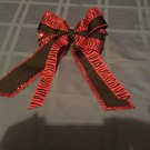 Holiday large hair bow red glitter black print tier ribbon  6 x 9 inch girls