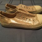 Size 2 Justice shoes silver sparkling glitter tennis shoes canvas casual