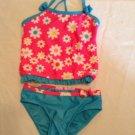 Jump N Splash tankini Size 3T swimwear floral 2 piece set outfit pink blue