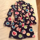 Size 8  10 Justice robe plush polka dots long sleeves blue