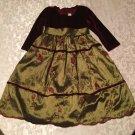 St Patricks Day Size 2T Crayon Kids dress burgundy & green long floral Girls