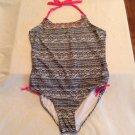 Breaking Waves swimwear Size 16  1 piece black white striped girls New