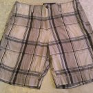 Fathers Day Size 32 American Eagle shorts  plaid gray & blue flat front shorts