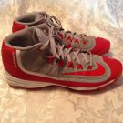 Nike baseball cleats Size 13 Huarache red gray athletic sports shoes Mens