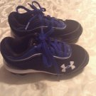 Under Armour shoes Size 10K black blue baseball sports cleats boys