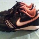 Nike shoes Girls 2Y softball baseball cleats black pink&white stripes athletic