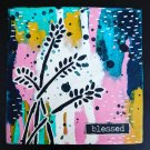 4x4 Inky Botanical Canvas- Blessed