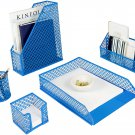 Blu Monaco 5 Piece Blue Desk Organizer Set - Desk Sets- Office Set- Blue Desk Ac