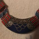 Fine Silver, Turquoise and coral  Necklace