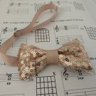 Toddler child 2-5 year old rose gold sequins sparkling bow tie