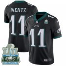 Eagles #11 Carson Wentz Black Champions Men's Stitched Limited Jersey