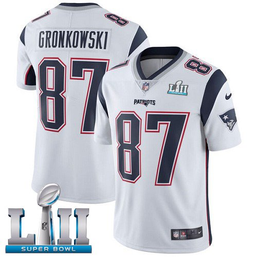 Patriots #87 Rob Gronkowski White SuperBowl Men's Limited Jersey