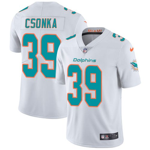 Dolphins #39 Larry Csonka White Men's Stitched Limited Jersey