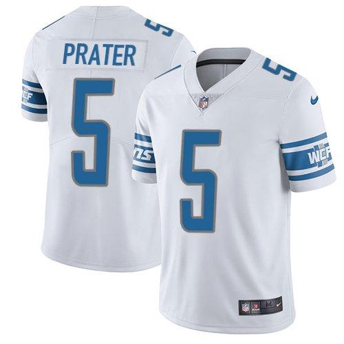 Lions #5 Matt Prater White Men's Stitched Limited Jersey