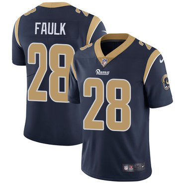 Rams #28 Marshall Faulk Navy Blue Men's Stitched Limited Jersey