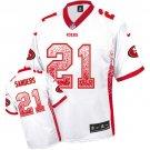 49ers #21 Deion Sanders White Men's Stitched Elite Drift Fashion Jersey