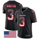 Buccaneers #3 Jameis Winston Black Men's Stitched Limited Rush USA Flag Jersey
