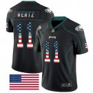 Eagles #11 Carson Wentz Black Men's Stitched Limited Rush USA Flag Jersey