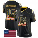 Steelers #19 JuJu Smith-Schuster Black Men's Stitched Limited Rush USA Flag Jersey