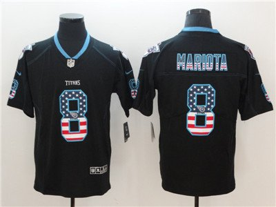 Titans #8 Marcus Mariota Black USA Flag Fashion Color Rush Limited Jersey