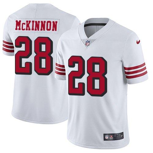 49ers #28 Jerick McKinnon White Rush Men's Stitched Limited Jersey