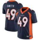 Broncos #49 Dennis Smith Navy Blue Men's Stitched Limited Jersey