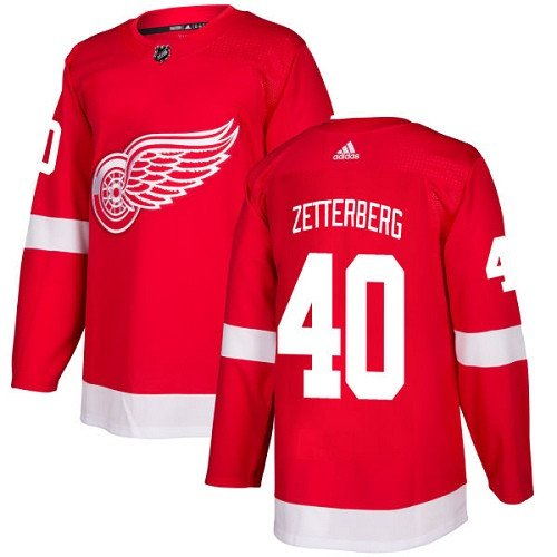 Henrik Zetterberg Men's Detroit Wings Stitched Home Red Jersey