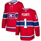 Jacques Plante Men's Montreal Canadiens Stitched Home Red Jersey