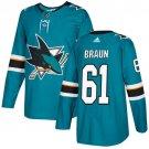 Justin Braun Men's San Jose Sharks Stitched Teal Home Blue Jersey