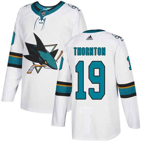 Men's San Jose Sharks #19 Joe Thornton White Stitched Jersey