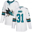 Men's San Jose Sharks #31 Martin Jones White Stitched Jersey