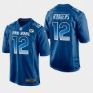 Green Bay Packers #12 Aaron Rodgers Blue NFC 2019 Pro Bowl Game Jersey