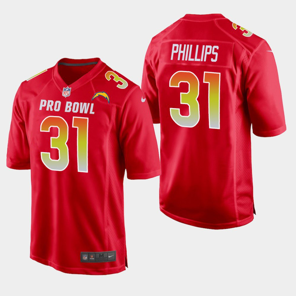 Los Angeles Chargers #31 Adrian Phillips Red AFC 2019 Pro Bowl Game Jersey