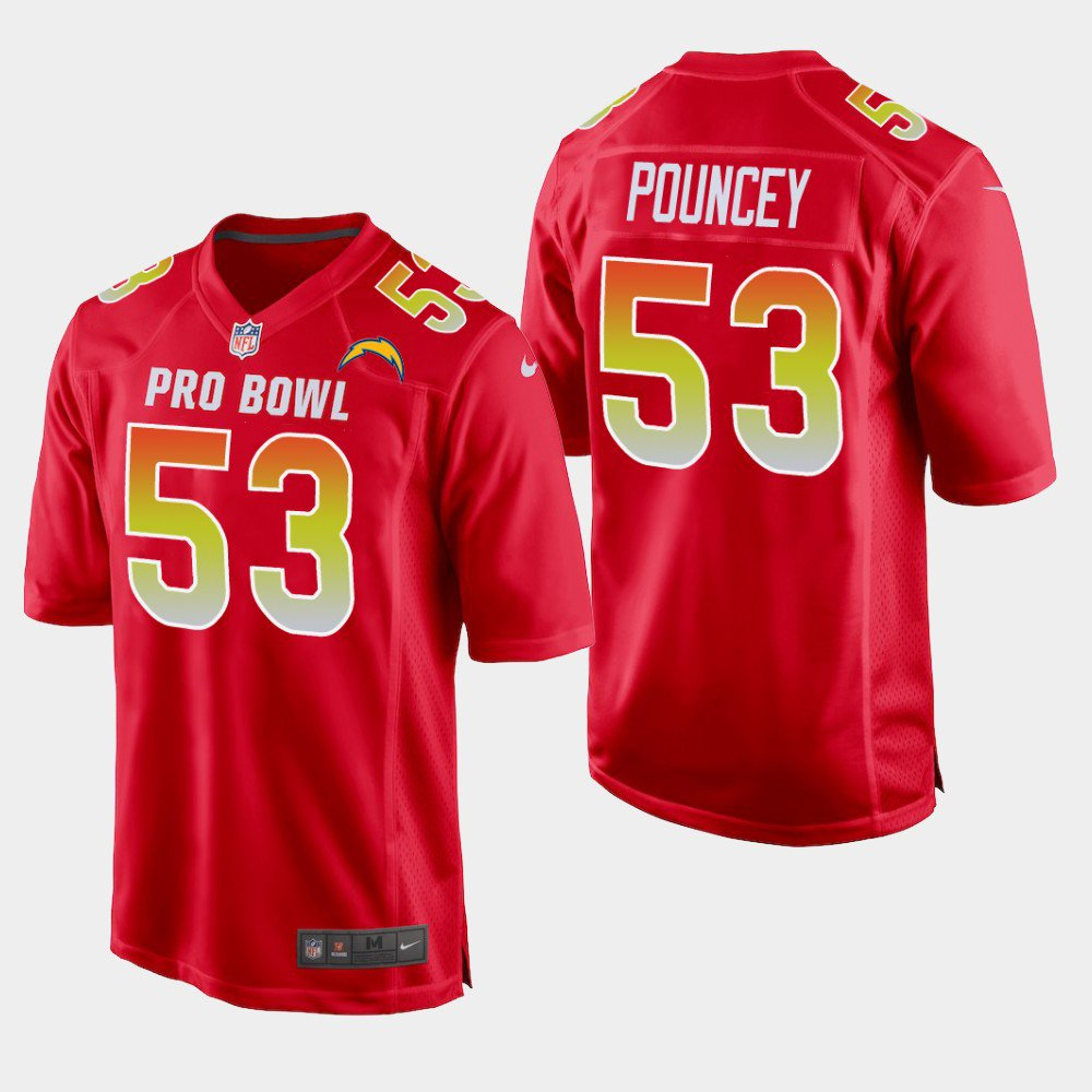Los Angeles Chargers #53 Mike Pouncey Red AFC 2019 Pro Bowl Game Jersey