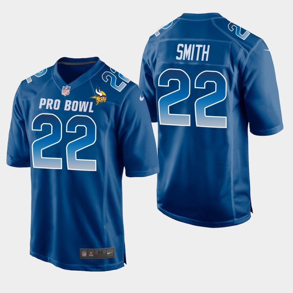 Minnesota Vikings #22 Harrison Smith Blue NFC 2019 Pro Bowl Game Jersey