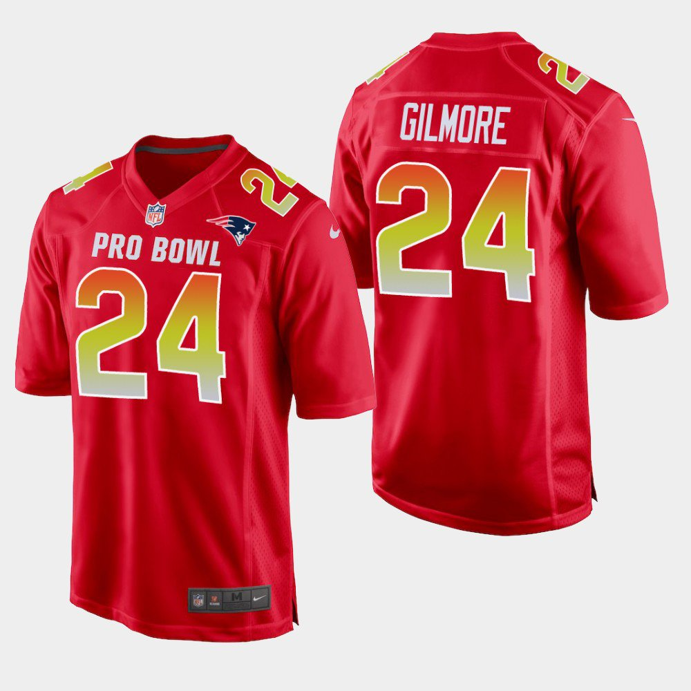 New England Patriots #24 Stephon Gilmore Red AFC 2019 Pro Bowl Game Jersey
