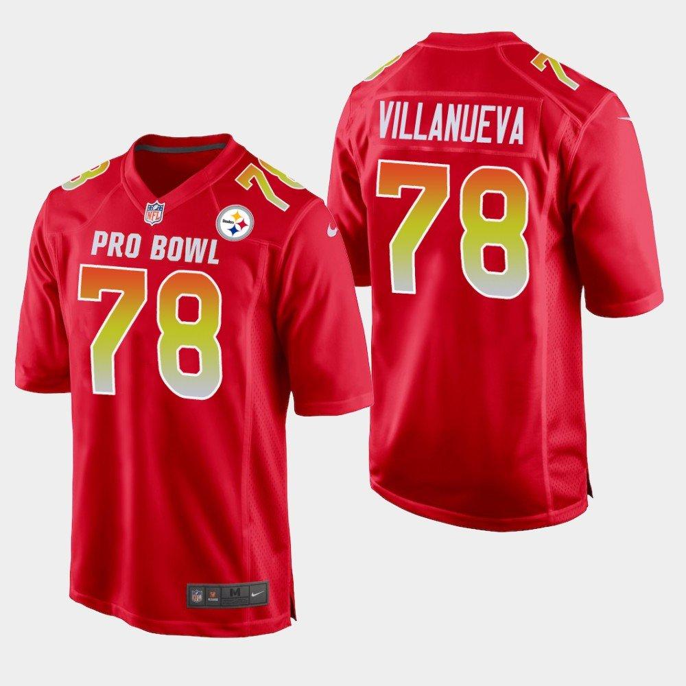 Pittsburgh Steelers #78 Alejandro Villanueva Red AFC 2019 Pro Bowl Game Jersey