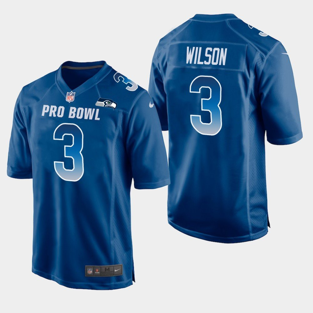 Seattle Seahawks #3 Russell Wilson Blue NFC 2019 Pro Bowl Game Jersey