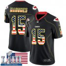 Patrick Mahomes Men's Black Stitched Jersey Super Bowl LIII #15 Chiefs USA Flag