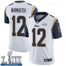 Men's Joe Namath Rams White Stitched Jersey Super Bowl LIII #12 Road