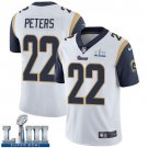 Men's Marcus Peters Rams White Stitched Jersey Super Bowl LIII #22 Road